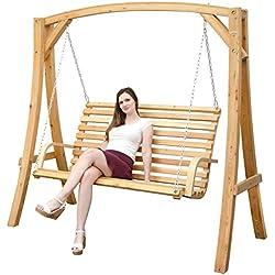 Panca Dondolo da giardino | 3 posti | in legno di larice | kit completo con divanetto e robusto sostegno per essere appeso | Altalena per tutta la famiglia | per interni ed esterni