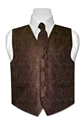 Covona BOYS Solid CHOCOLATE BROWN Paisley Design Dress Vest NeckTie Set