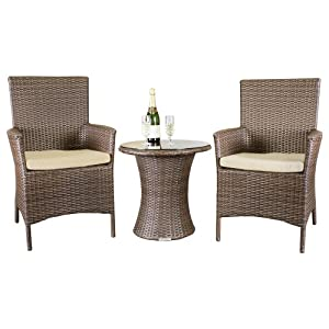 Oxford 2 Seat Brown Outdoor All Weather Rattan Garden Bistro Set by Wovenhill