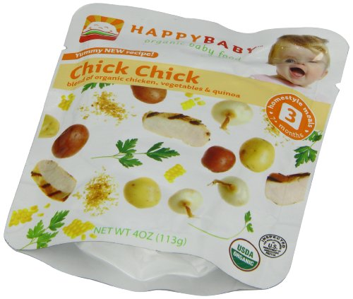 Happy Baby Organic Baby Food 3 Homestyle Meals Chick Chick 4 Ounce Pouches Pack of 16