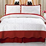 Bedford Home Lydia Embroidered 3-Piece Quilt Set, Full/Queen