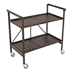 COSCO Smartfold Metal Outdoor Furniture Folding Slat Serving Cart Table