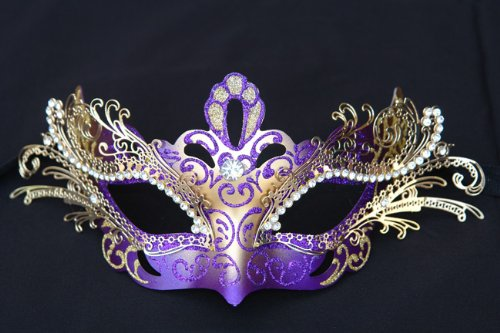 Venetian Purple Mask w/ Gold Metal Laser-cut and Crystals on Eyes