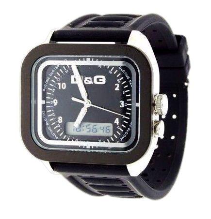Dolce Gabbana - DW0299 - Gents Watch - Analogue Quartz and Digital - Multifunction - Black Rubber Strap