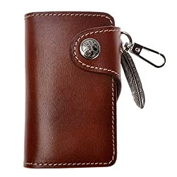 ZLYC Handmade Genuine Leather Charm Ornament Key Case Wallet Card Holder Keychain Dark Brown