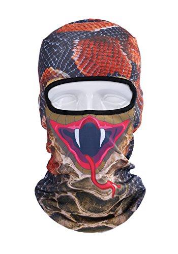 Mengde Unisex Animal Face 3D Print Ski Balaclava Full Face Cycling Mask Style Red Snake
