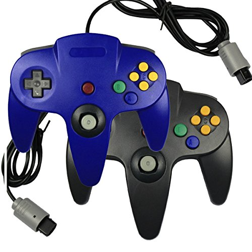 2-x-game-gaming-pad-console-controllers-for-nintendo-64-n64-black-blue