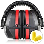 Fnova 34dB Highest NRR Safety Ear Muffs - Professional Ear Defenders for Shooting, Adjustable Headband Ear Protection / Shooting Hearing Protector Earmuffs Fits Adults to Kids (Red)