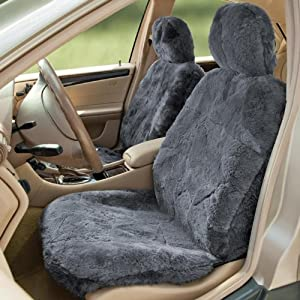 Automotive Innovations Charcoal Genuine Sheepskin Front Bucket Universal Fit Seat... by Automotive Innovations