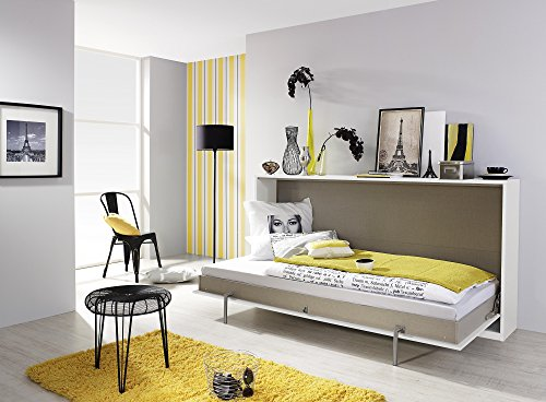 Matelpro-Armoire-lit contemporaine coloris blanc/lavagrau Alberto