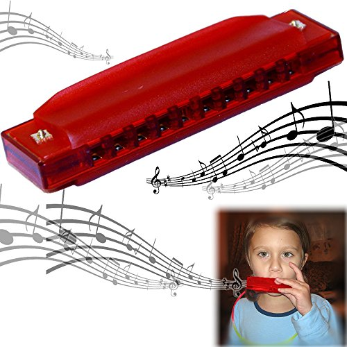 "Dazzling Toys Kids Clearly Colorful Translucent Harmonica - ""Pack of 2"" 4 Inch Red Harmonica - 1"