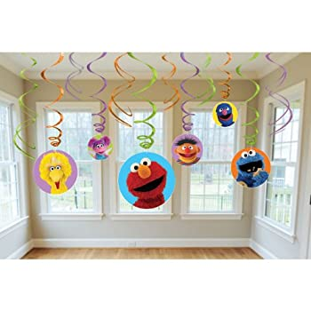 Sesame Street Party Swirl Decorations is a vivid 12pc set. Each pack includes 6 foil swirls, 3 foil swirls with 7in cut out, and 3 foil swirls with 5in cut out.