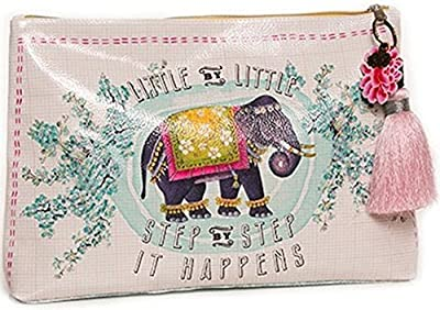 Papaya Art Little Elephant Bohemian Vegan Pink Travel Pouch Cosmetic Make-up Bag