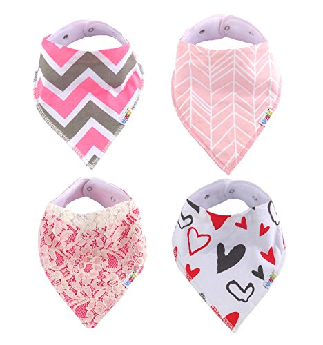 Baby Bandana Drool Bibs For Girls Trendy 4-Pack Gift Set by Veecka Ideal for Drooling and Teething
