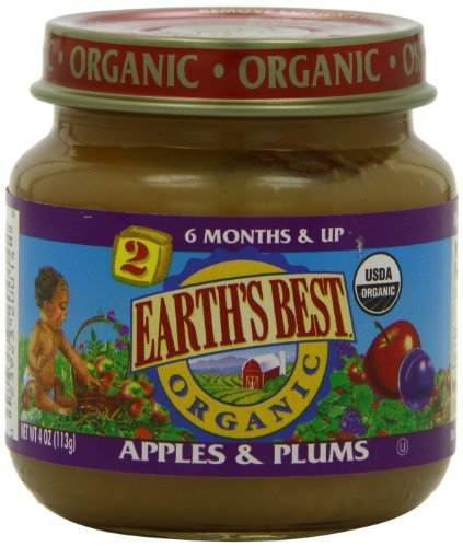 Earth's Best Organic Apple and Plums, 4 Ounce Jars (Pack of 12)