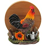 Decorative Farm Rooster Bamboo Drink Coaster Set with Holder Sculpture for Rustic Country Bar & Kitchen Decor Farm Animal Figurines As Chicken Beverage Display Stand Gifts for Farmers