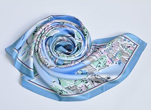 .Y 横浜 スカーフ シルク スカーフ 正方形 スカーフ 母の日 シルクツイル アンコーナ コバルトブルー
