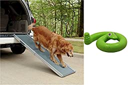 Deluxe Telescoping Dog Ramp with Green Springy Snake Toy