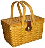 Search : Vintiquewise(TM) QI003081 Gingham Lined Picnic Basket with Folding Handles