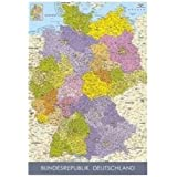 (24x36) Map of Germany in German Language Educational Poster Print