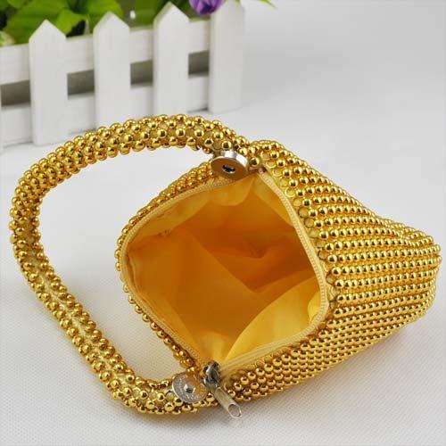 Gleader Petit Doux Corps Perle bracelet Poche Forme Portable Soiree Sac porte-monnaie sac -Or