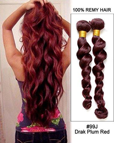 Tissages Brésiliens Naturels 100% Cheveux Humains Loose Wave Extensions de Cheveux Ondulés #99J Rouge 28\\