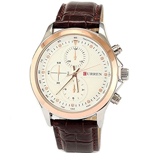 Curren Brand Leather Strap Watch for Mens Fashion Style Quartz Military Waterproof Watches image
