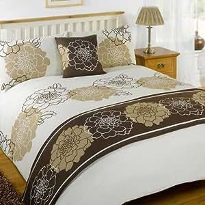 parure de lit 2 personnes marisa chocolat 230 x 220 cm cuisine maison. Black Bedroom Furniture Sets. Home Design Ideas