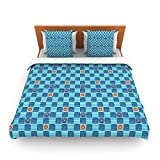 "Kess InHouse Jane Smith ""Vintage Checkerboard"" Blue Navy King Fleece Duvet Cover, 104 by 88-Inch"