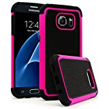 Galaxy S7 Case, Bastex Heavy Duty Slim Fit Hybrid Armor Premium Dual Shock Rubber Silicone Cover with Hard Protective Case for Samsung Galaxy S7 (Hot Pink)