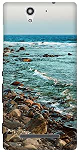 The Racoon Lean Rocky Shore Beige hard plastic printed back case / cover for Sony Xperia C3