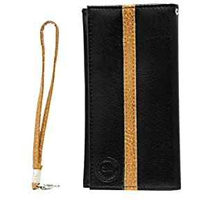 Jo Jo A5 S Series Leather Wallet Universal Pouch Cover Case For Gionee Gpad G2 Black Tan