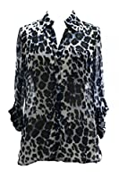 Diane von Furstenberg Lorelei Two Blouse in Snow Cheetah Large Blue