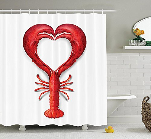 Sea Animals Decor Collection A Boiled Lobster Shaped as A Heart Symbol Fish Dinner Seafood Love Restaurant Menu Art Polyester Fabric Bathroom Shower Curtain Set Red (Restaurant Menu Templates compare prices)