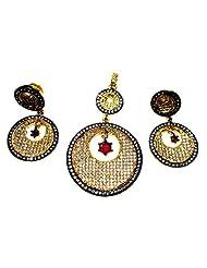 Poddar Jewels Cubic Zirconia Designer Golden Oxidized Pendant Set