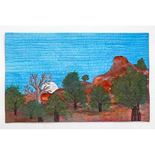 Moonrise, Jemez - painted and stitched landscape wallhanging, 17.75 x 28.75 inches