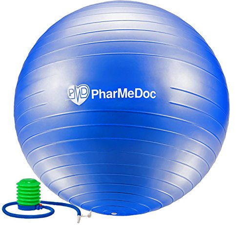 PharMeDoc Exercise Ball with Pump - Gym Quality Anti-Burst Non-Slip - Tone abs - Perfect for Physical Therapy Pilates Home Fitness Yoga Balance & Personal Training - Swiss , stability, birth