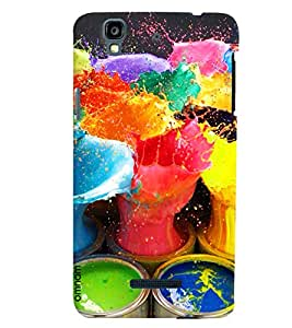 Omnam Paint Bucket With Paint In The Air Desinger Back Cover Case for Micromax Yureka