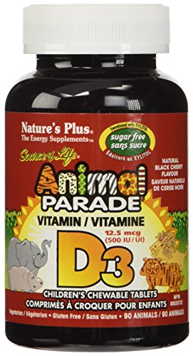 Animal Parade Sugar Free Vitamin D3 500 IU-Black Cherry 90 Chewable Tablets