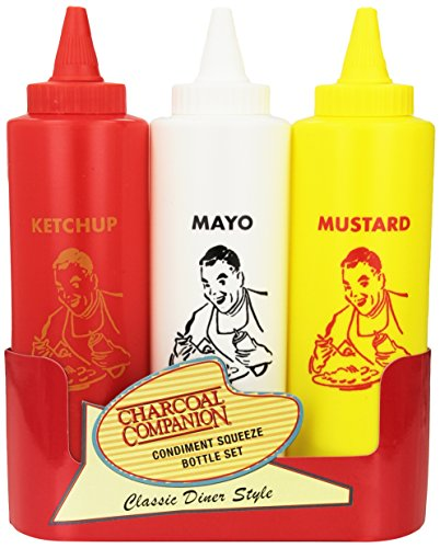 Charcoal Companion Classic Diner Condiment Bottle Set / Ketchup, Mayo, Mustard (Ketchup Bag Dispenser compare prices)