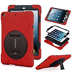 HAOCOO X-Defense Series Heavy Duty Full Shockproof Body Rugged Hybrid Protective Case Cover with Built-in Screen Protector [360 Degree Rotatable] [Multi-Adjustable Stand]for iPad 5/ iPad Air (Red)