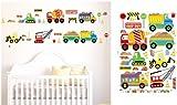 ENFANTS STICKERS MURAUX GRAND VOITURES CAMIONS AUTOCOLLANTS FILLES CHAMBRE DE MUR CHAMBRE DECOR Décoration Sticker Adhesif Mural Géant Répositionnable...