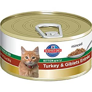 Hill's Science Diet Kitten Healthy Development Turkey and Giblets Entree Minced Cat Food, 3-Ounce Can, 24-Pack