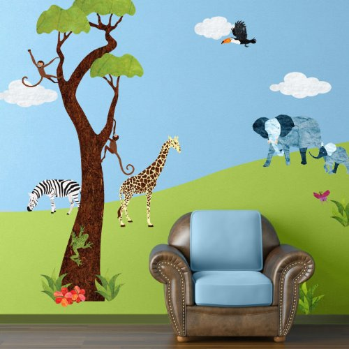 Safari wall decals tktb for Baby jungle safari wall mural