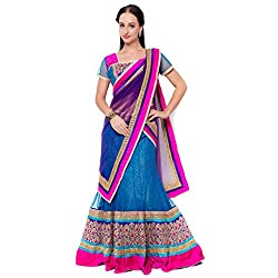 Suchi Fashion Blue Net Embroidered Circular Lehenga Choli