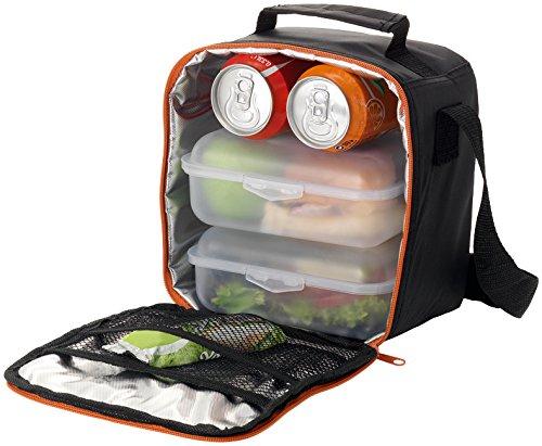 Borsa termica porta pranzo in nylon con 2 contenitore in plastica