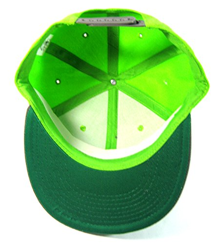Blank Plain Vintage Snapback Hats Green Underbill Fashion - Two Tone Neon Green / Gray master prediction system prediction case white and aluminum case with bottle magic tricks fire props dice comedy mental magic