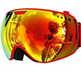 ZIONOR® Lagopus X1 Snowmobile Snowboard Skate Ski Goggles with Detachable Extra-large Lens and Wide Angle Double Lens Anti-fog Big Spherical Ski Goggle With Rotating Button to Pop the lens