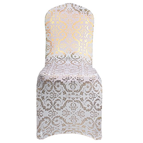 AerWo Bronzing Chair Cover Elastic Spandex Coverings Gold Printing Flower Chairs Cloth for Party Wedding Banquet Universal