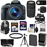 Canon EOS Rebel SL1 Digital SLR Camera & EF-S 18-55mm IS STM Lens with EF 75-300mm III Lens + 64GB Card + Battery + Backpack + 2 Lenses + Accessory Kit